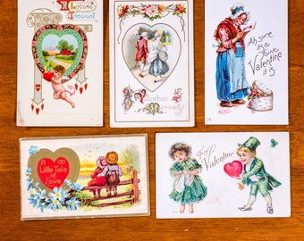 Antique Valentine Postcards: USA SET #2