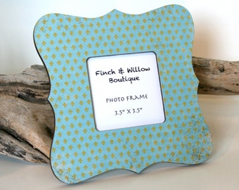 Robin Egg Blue decor, Fleur de lis Picture frame, Photo frame, Baby shower gift, Fleur de lis decor