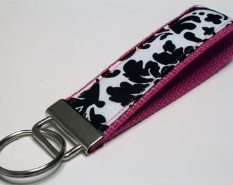 Fabric Key Fob, Key Chain, Key Ring, Key Holder, Wristlet Key Fob, Wristlet Keychain, Fabric Key fobs-Splash of pink