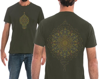 Men Mandala T shirt In Olive Green Or Brown, Sacred Geometry Shirt, Peyote, Yoga, Festival Clothes, Sacred Geometry