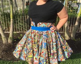 Marvel Comic Book Full Circle Rockabilly Skirt with Fancy Waistband