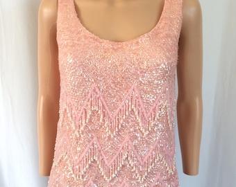 1960s Pink Beaded Wool Tank Chevron Pearl Tassels Sz. M
