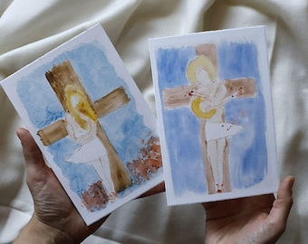 Set of 2 Christmas cards (The Bible revisited: Nativity and Crucifixion mixed up)