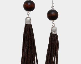Wooden Ball & Suede Tassel Drop Earrings  - Silver/Dark Brown