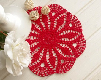 SALE 15% OFF: Crochet doily on sale Red crochet doilies Cotton lace doilies Crocheted centerpiece 300
