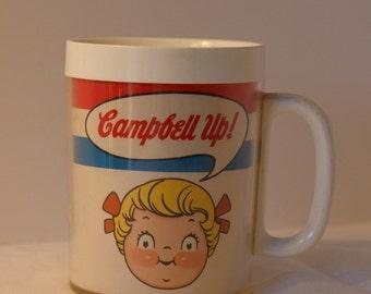 Vintage Campbell's Soup Mug - Campbell Up  -  Vintage Thermal Mug  - Campbells Soup
