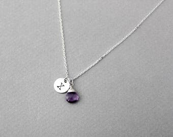 Amethyst necklace, initial necklace, February birthstone, birthstone necklace, sterling silver, personalised jewellery, silver necklace