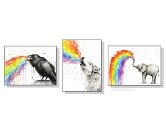 Rainbow Animals Rainbow Nursery Art Print Set Rainbow Wall Decor Colorful Animals Watercolor Wall Art Set of 3 Prints - Raven Wolf Elephant