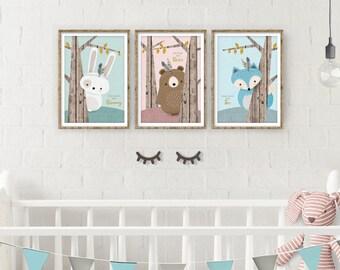 Woodland Nursery, Rustic Nursery, Forest Animal Set, Set of 3, Print Set, Nursery Art, Forest Friends, Nursery Forest Decor, Fox Bear Bunny
