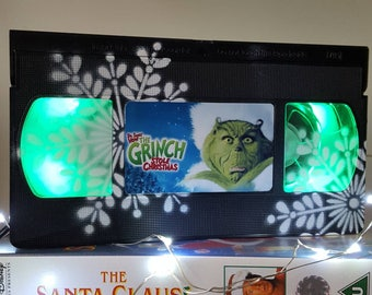 Retro VHS Lamp The Grinch with Snowflake Night Light Table Lamp, Christmas Holiday Movie. Holiday Decor, Christmas movies, Seasonal!