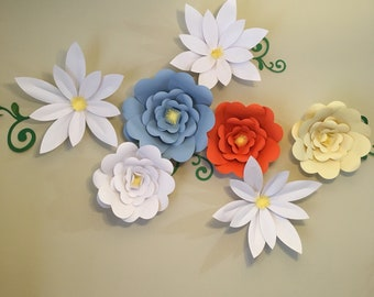 Paper Flower Wall Decor, Giant Roses, White Daisy, Kitchen Decor