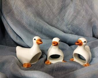 Vintage White Duck Napkin Rings--set of 3