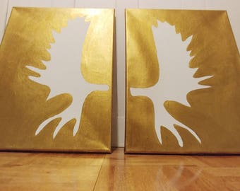 Moose Canvas Painting - Diptych - Antler Painting - Gold