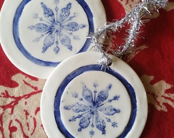 Ceramic Star Snowflake Ornament - Blue and White