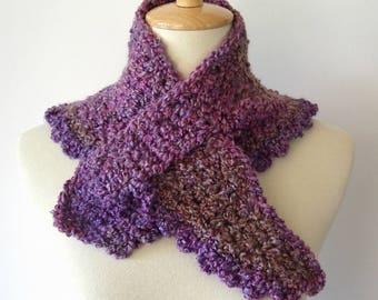 Lavender Homespun Purple Crochet Neck Warmer Cross Over Scarf Super Soft Textured Winter Fashion