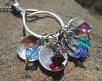 Sterling silver Charm Catcher/Collector Necklace, Mother's, Grandmother's Birthstone Necklace
