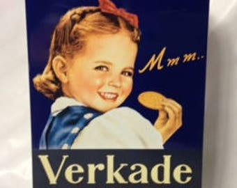 1980s Vintage Tin/Verkade Biscuits/ Cookie Tin/Dutch Retro Canister/Royal Verkade Biscuits Tin