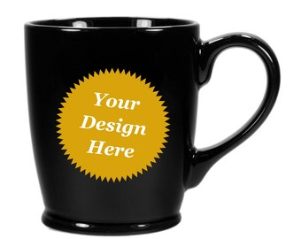 CUSTOM Black Mug, Handled Coffee Cup - Choose your etched design