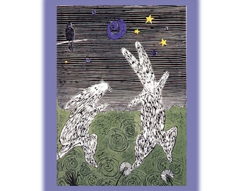 Rabbits Dance, a Notecard, Digital Pigmented Print with Envelope