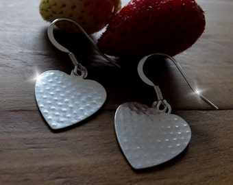 Silver Strawberry Heart Earrings, Silver Heart Drop Earrings, Silver Heart Earrings, Mothers Day Gift, Romantic Gift, Anniversary Gift