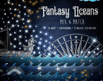 Fantasy Oceans Scene Creator clipart, Magic Waves, night sky nautical dreams clip art, vintage mermaid, whimsical digital scrapbooking kit