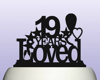 Acrylic 19th Birthday Years Loved Theme Cake Topper Decoration