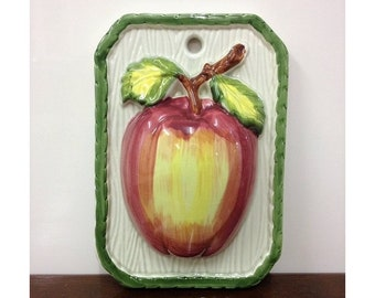 Vintage Ceramic Apple Wall Plaque Made in Japan 50's-60's Kitchen Home Decor