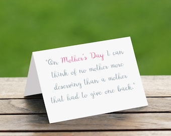 Mothers Day Greeting Card/Sympathy/Memorial/Infant Loss/Loss of Mother/Mothers day card from husband/Mothers day card from daughter