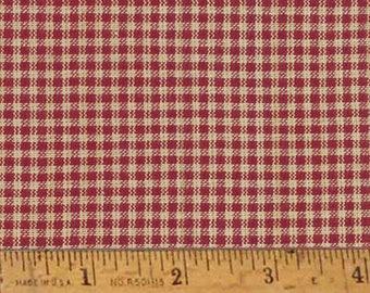 "Rustic Red 2 Homespun Cotton Fabric (Full Yard 36"" x 44"")"