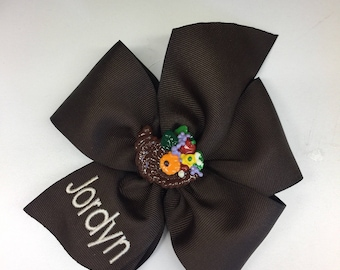 Any Name, Monogram, Cornucopia, Hair Bow, Thanksgiving, Large Girls, Kids Bows, Fall Autumn, Brown Personalized, Monogrammed Letter,