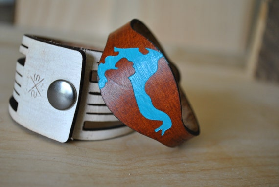 Lake Pend Oreille, ID leather cuff | sandpoint idaho | idaho | customizable gift | christmas gift