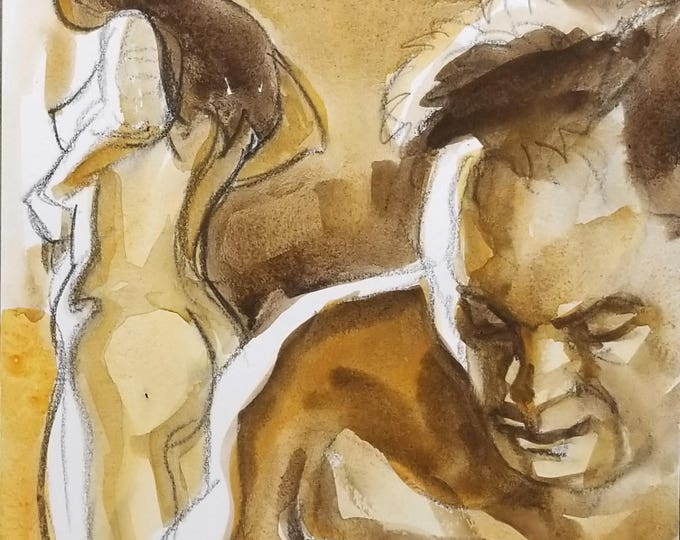 Delayed Reaction, 9x12 inches, watercolor and crayon on cotton paper by Kenney Mencher