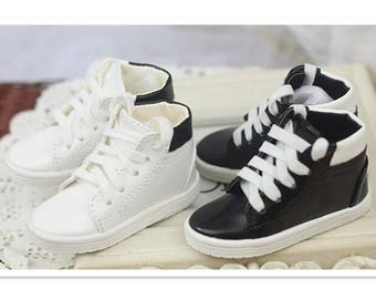 1/3 1/4 BJD SD MSD Shoes Causal Sport Shoes for Dolls,Fashion Doll Shoes Footwear for Dolls,Mini Doll Accessories Toy Boots White/Black