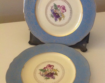 Vintage Steubenville Pottery Co. Porcelain China Dinner Plates with Light Blue & Gold Trim and Floral Design