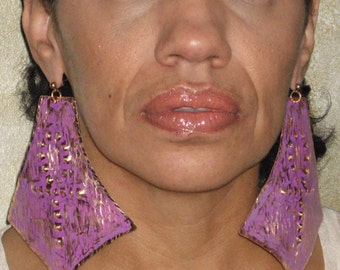 Vintage Ankh Patina Copper Amethys Post earrings Afrocetric  Earrings Rustic Earrings