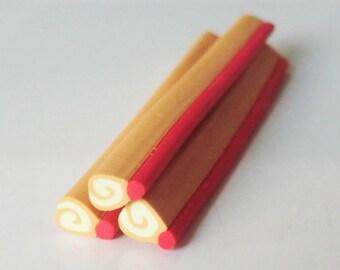 1 x cane polymer clay jelly roll caramel