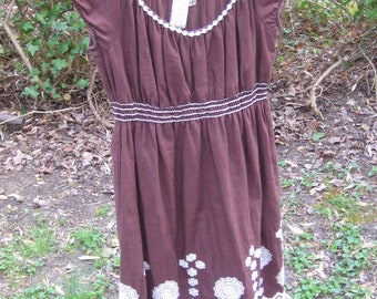 Vintage 90's,Short Sleeve Lined Brown Boho Women's Dress, Max Studio, Embroidered Summer Stretch Dress, Scoop Neck, Short Sleeve, Size S