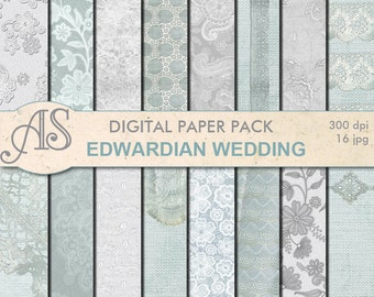 Digital Vintage Edwardian Wedding Lace Paper Pack, 16 printable Digital Scrapbooking papers, fabric paper, Instant Download, set 277