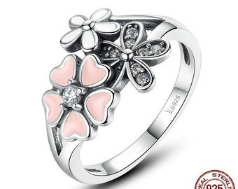 Pink Flower Poetic Daisy Cherry Blossom Ring