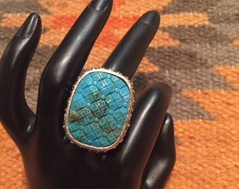 Blue Turquoise Silver Ring/BoHo Fashion Jewelry/ Size 8