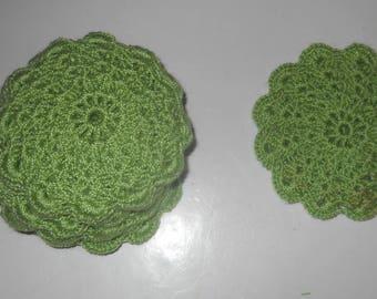 Coasters, crocheted, green, ready to ship.