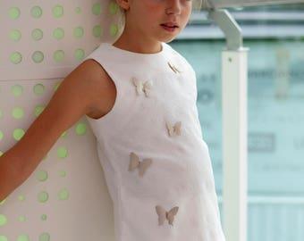 Girls jacquard cotton top/Vacation tank top/Summer top/Toddler girl sleeveless top/Handmade top/Tunic top/White top/Box top tank
