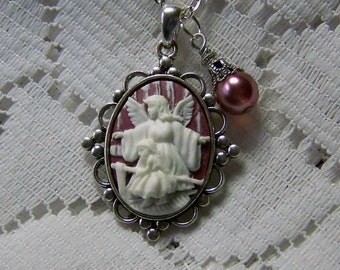 Guardian Angel Necklace,  Angel and Child, Religious Necklace, Catholic Necklace, Marsala Wine & White Cameo, Angel Jewelry, Angel and Girl