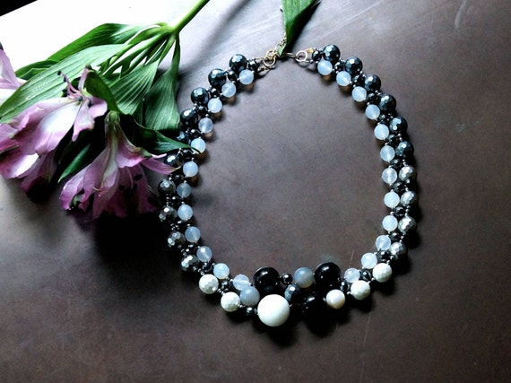 Black and white gemstone beaded necklace - Wedding jewelry pearl and gemstone bridesmaid necklace