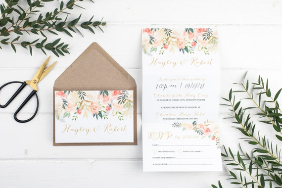 Wedding Invitation - Rose Luxe Floral Z-Fold