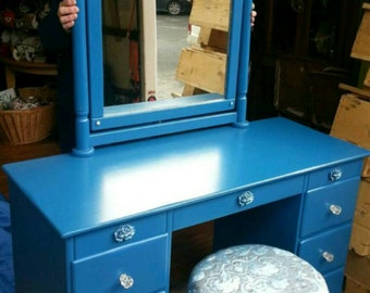 Vintage Vanity Desk Royal Blue Silver Salvaged Shabby Chic Dressing Table Distressed Refinished WHAGN