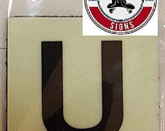 """Photoluminescent Door Identification Number U Sign Heavy Duty / Glow In The Dark """"Door Number"""" Sign Heavy Duty (Aluminum Sign 1.5 X 1.5)"""