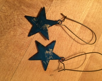Teal Star Dropped Dangle Earrings