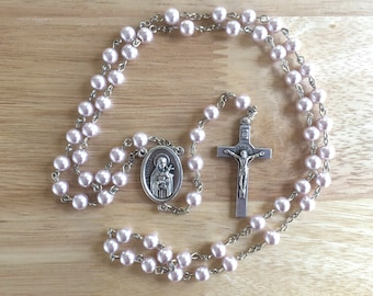 Handmade Catholic Rosary: St. Therese with Light Pink Glass Pearl Beads