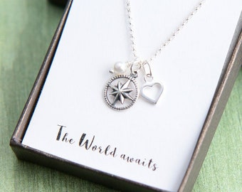Compass Necklace, Graduation Gift for Her, Compass graduation, Inspirational Necklace, Graduation for Her, Personalized Gift, Class of 2018